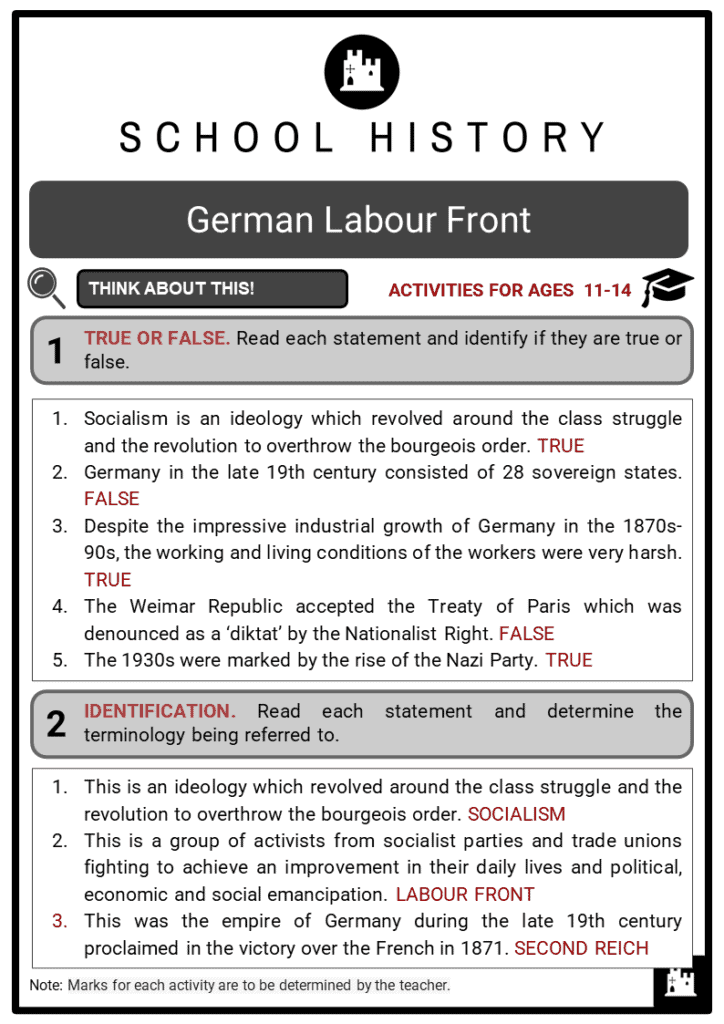 German Labour Front Student Activities & Answer Guide 2
