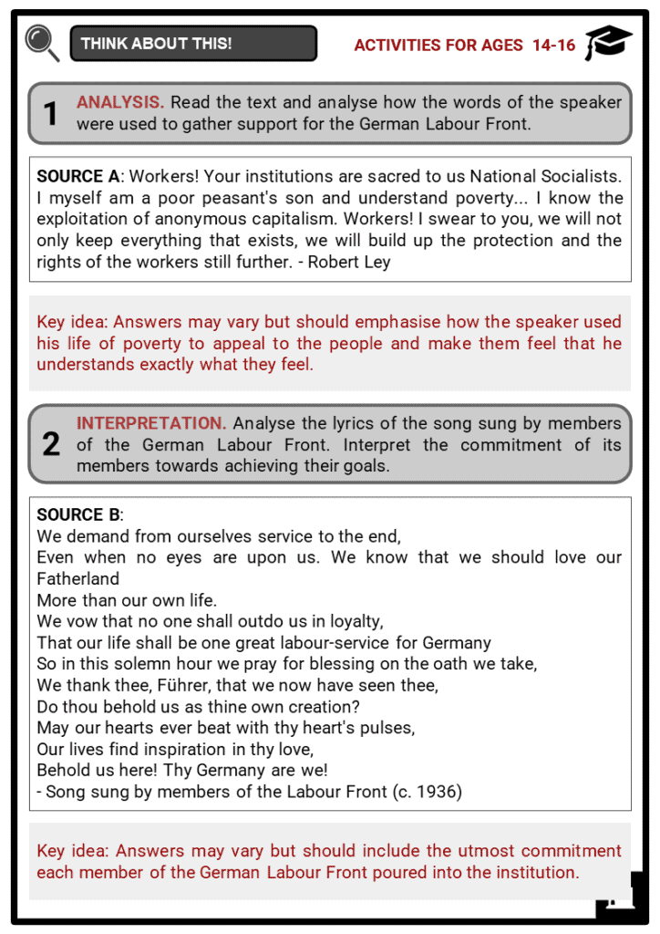 German Labour Front Student Activities & Answer Guide 4