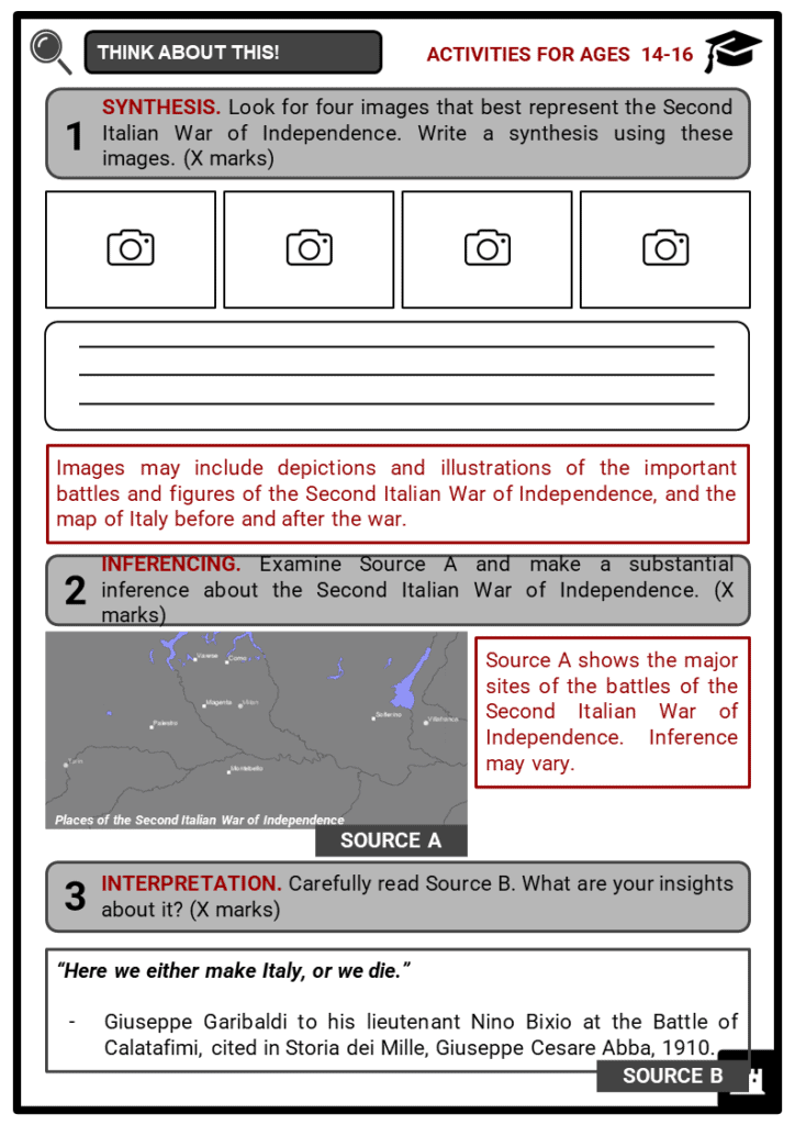 Second Italian War of Independence Student Activities & Answer Guide 4