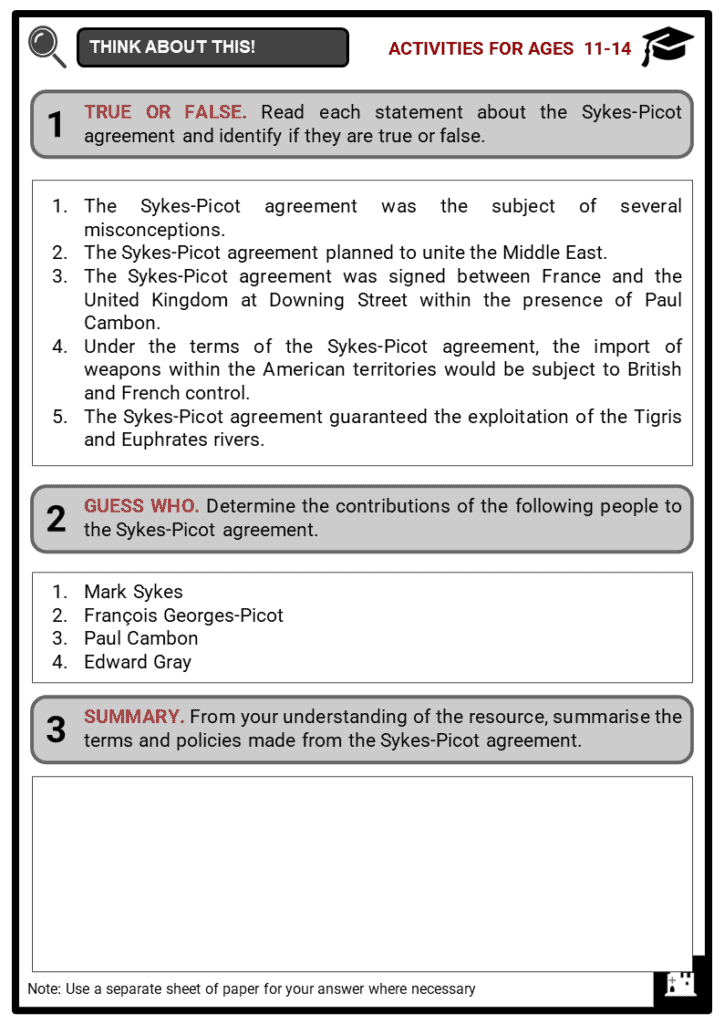 Sykes-Picot Agreement Student Activities & Answer Guide 1