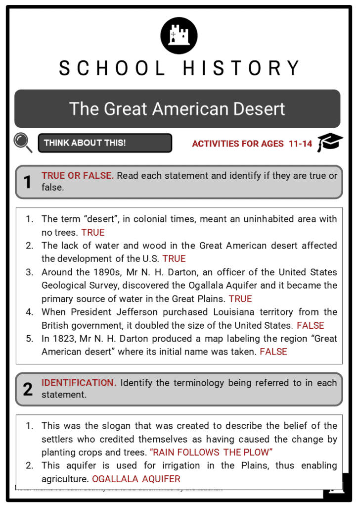 The Great American Desert Student Activities & Answer Guide 2
