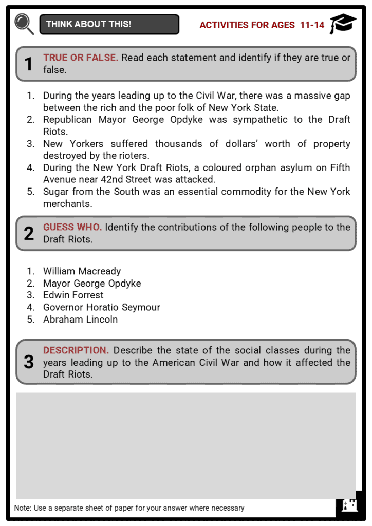 The New York Draft Riots Student Activities & Answer Guide 1