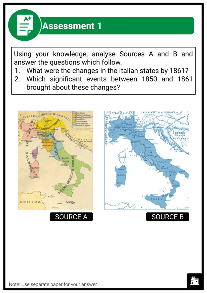 A Level The Risorgimento and The Establishment of a New Kingdom of Italy 1850-1861 Assessment 2