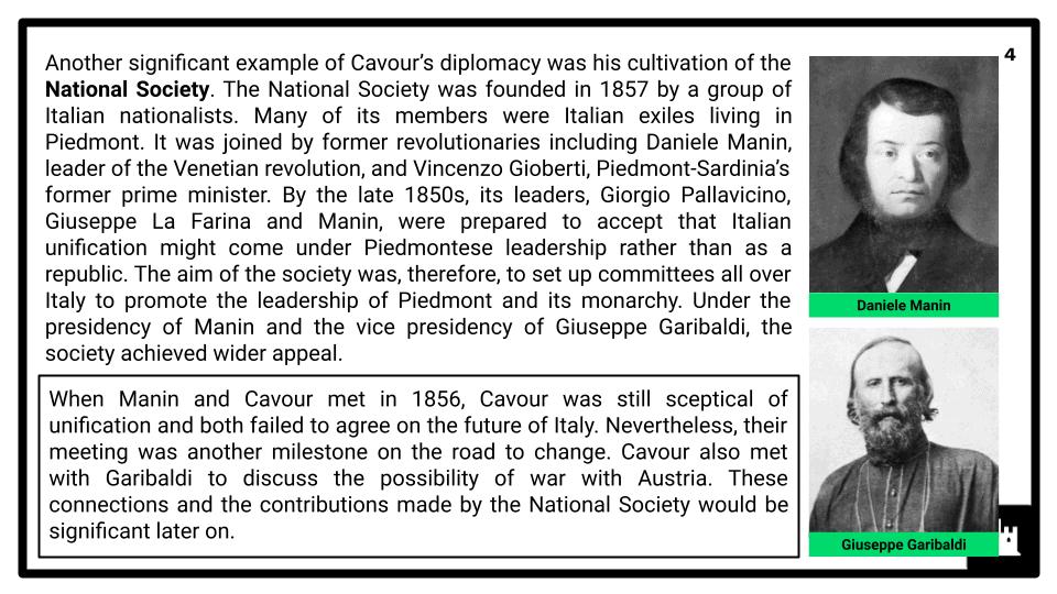 A Level The Risorgimento and The Establishment of a New Kingdom of Italy 1850-1861 Presentation 2
