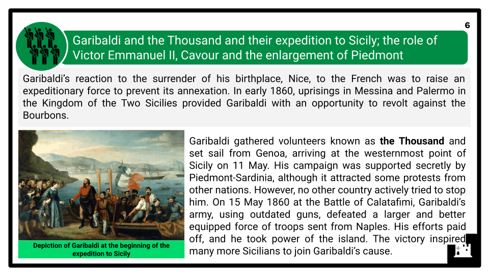 A Level The Risorgimento and The Establishment of a New Kingdom of Italy 1850-1861 Presentation 4