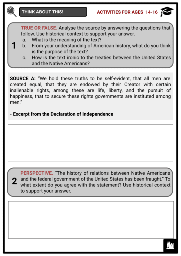 An Overview Of Treaties between the United States and the Native Americans Activities & Answer Guide 3