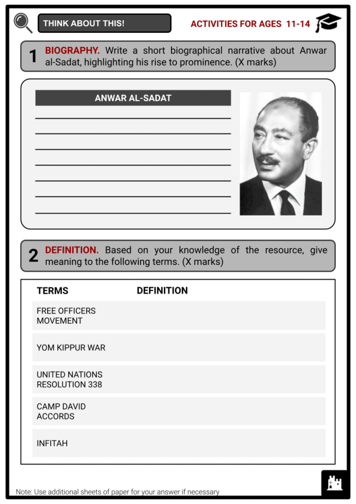 Anwar al-Sadat Student Activities & Answer Guide 1