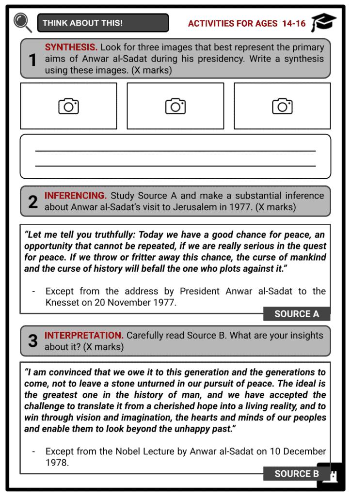 Anwar al-Sadat Student Activities & Answer Guide 3