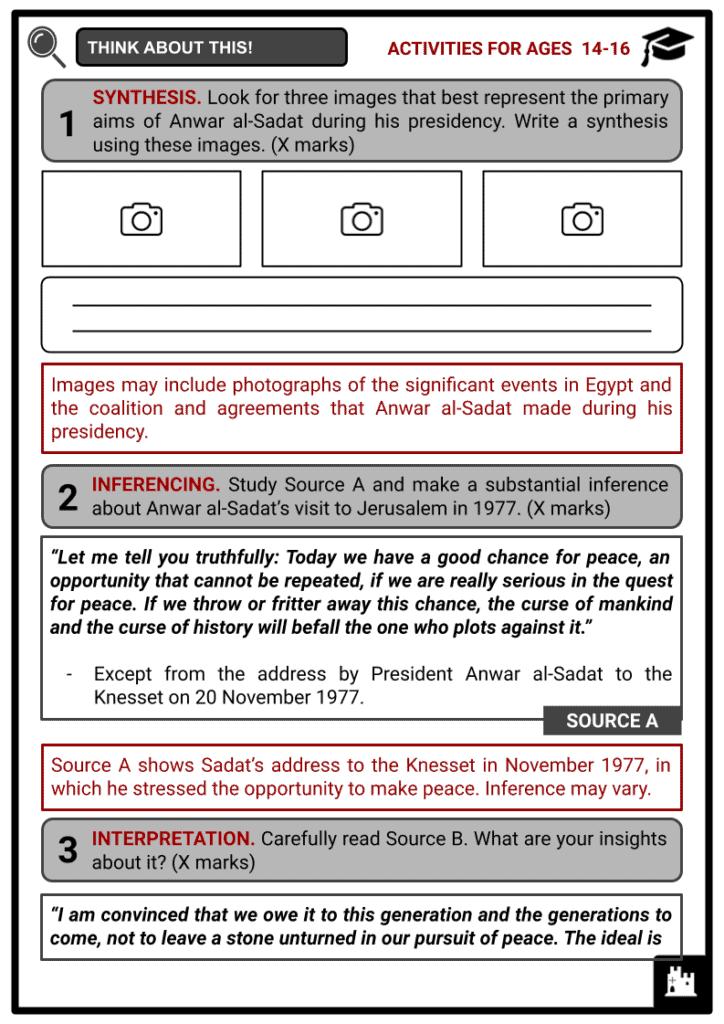 Anwar al-Sadat Student Activities & Answer Guide 4