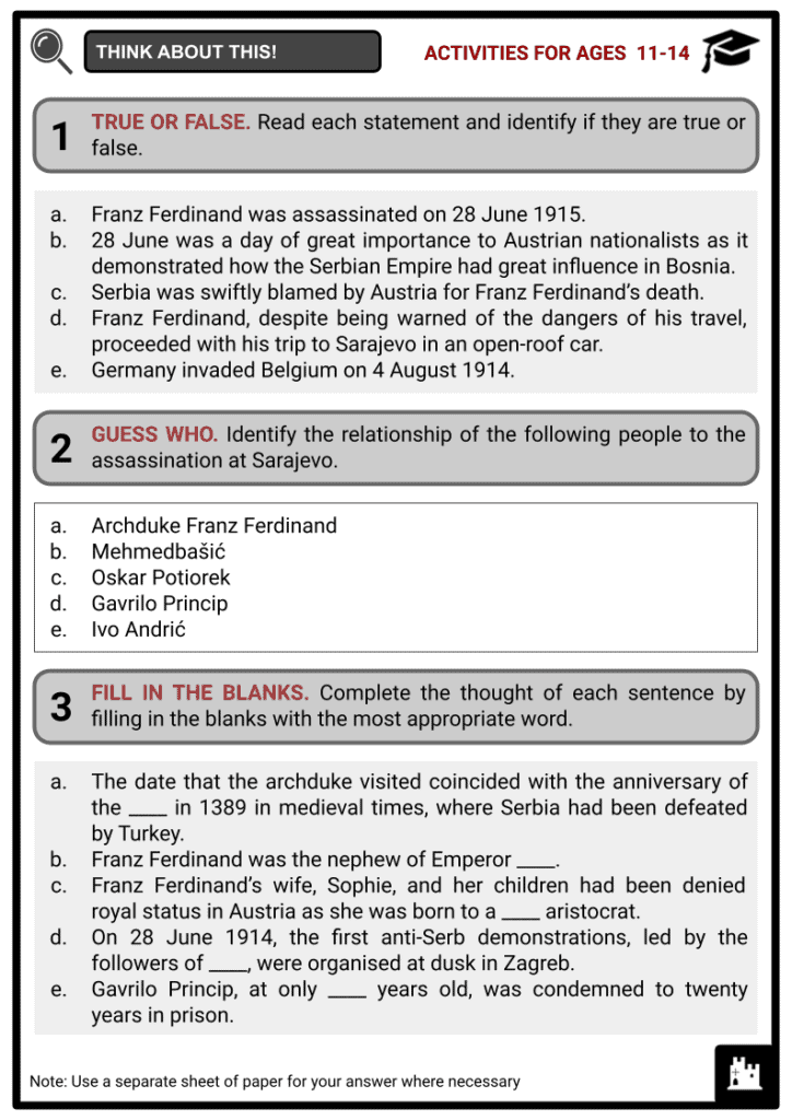 Assassination at Sarajevo Student Activities & Answer Guide 1