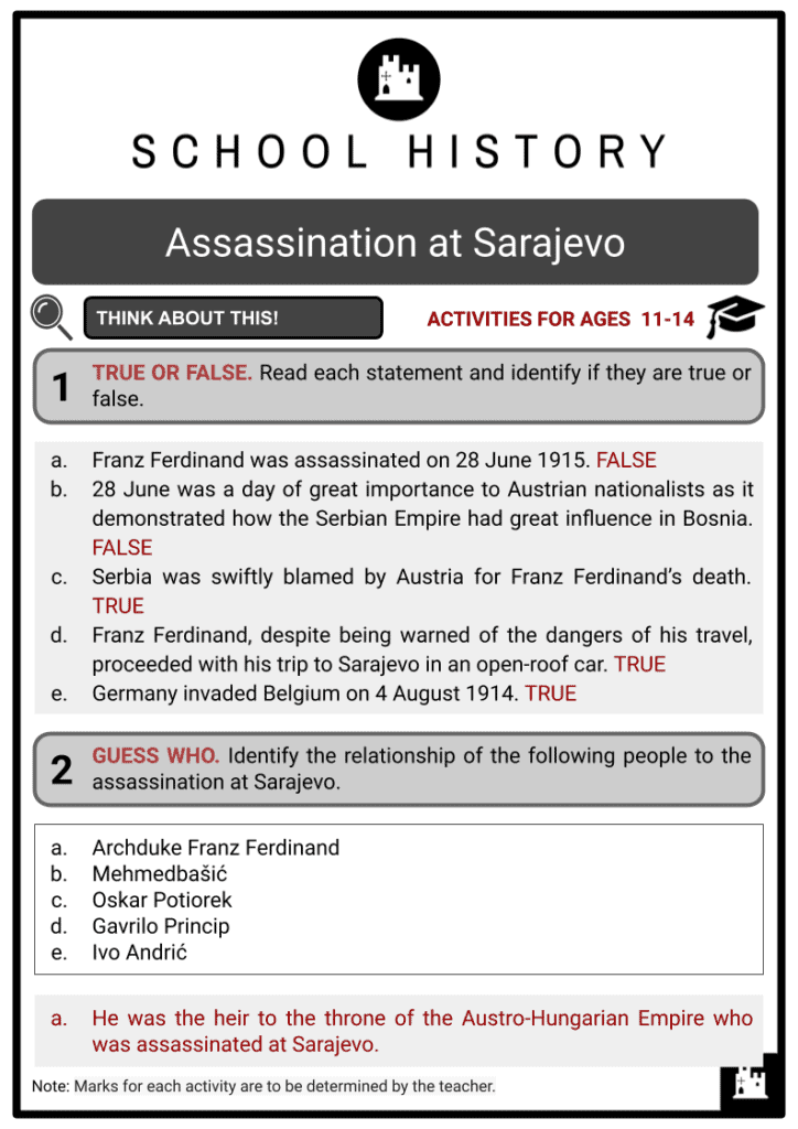 Assassination at Sarajevo Student Activities & Answer Guide 2