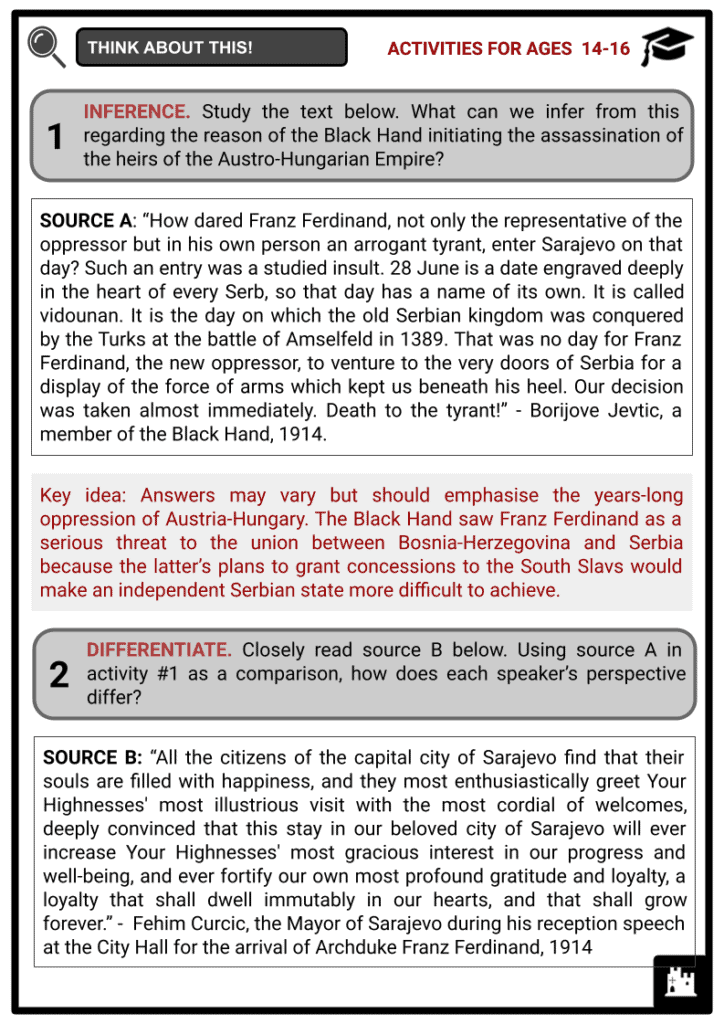 Assassination at Sarajevo Student Activities & Answer Guide 4