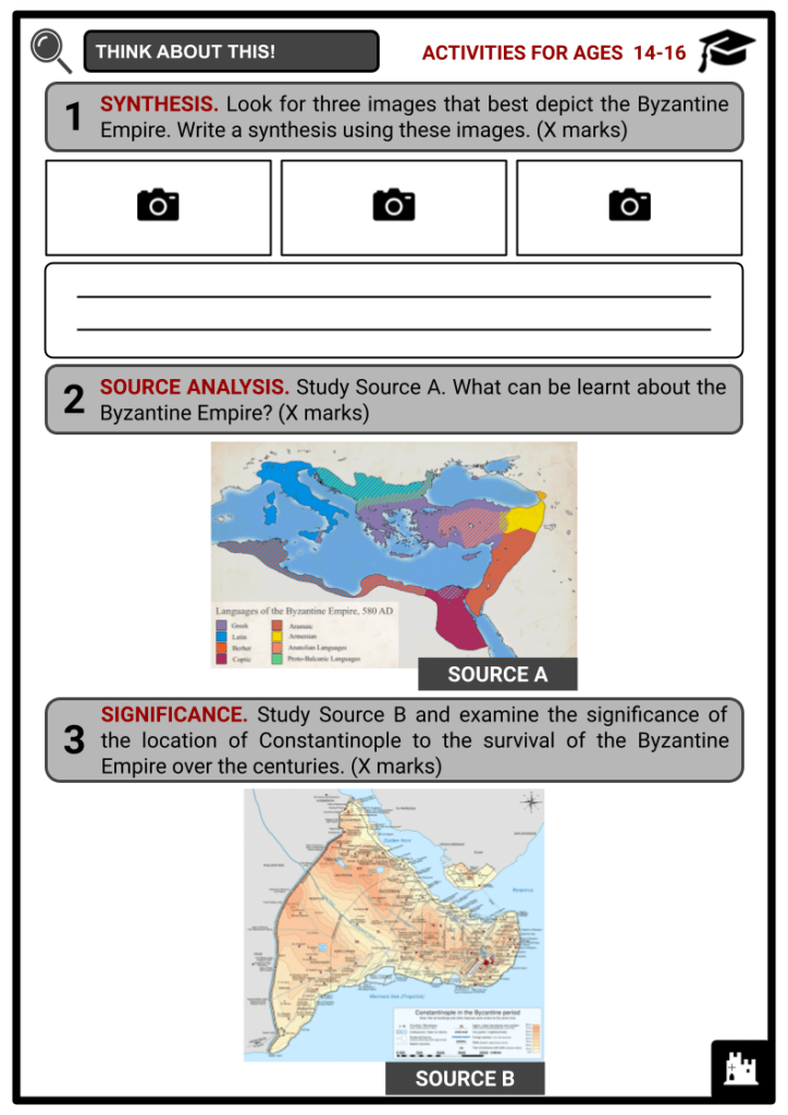 Byzantine Empire Activities & Answer Guide 3