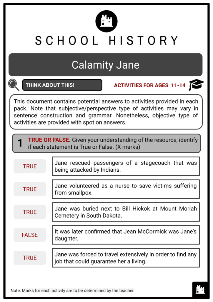 Calamity Jane Activities & Answer Guide 2