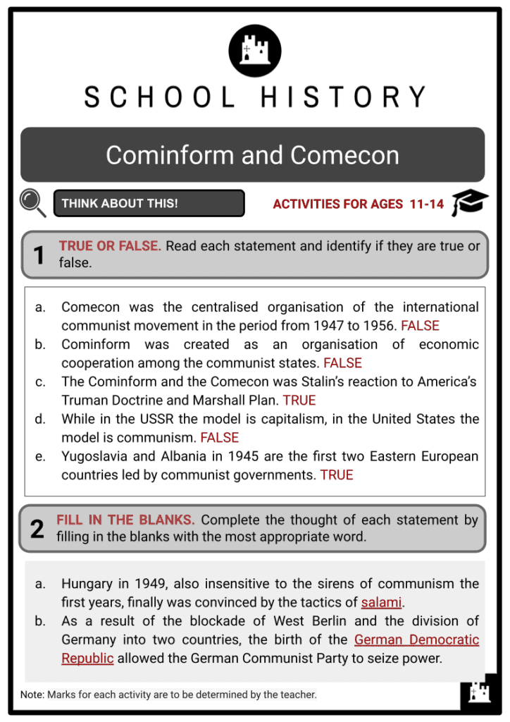 Cominform and Comecon Answer Guide