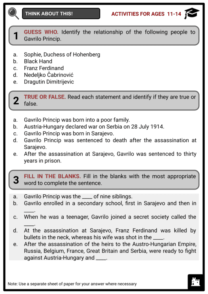Gavrilo Princip Student Activities & Answer Guide 1