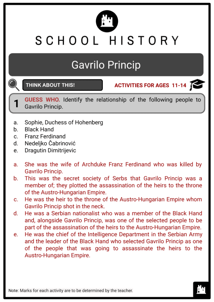 Gavrilo Princip Student Activities & Answer Guide 2