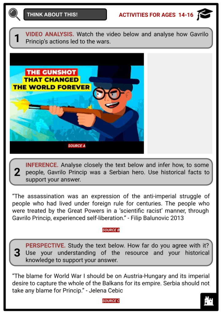Gavrilo Princip Student Activities & Answer Guide 3