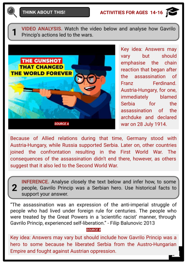 Gavrilo Princip Student Activities & Answer Guide 4
