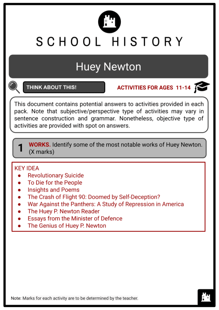 Huey Newton Activities & Answer Guide 2