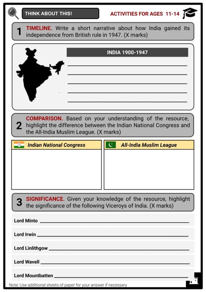 India 1900 to 1947 Activities & Answer Guide 1