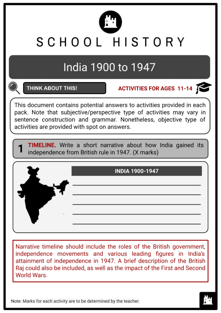 India 1900 to 1947 Activities & Answer Guide 2