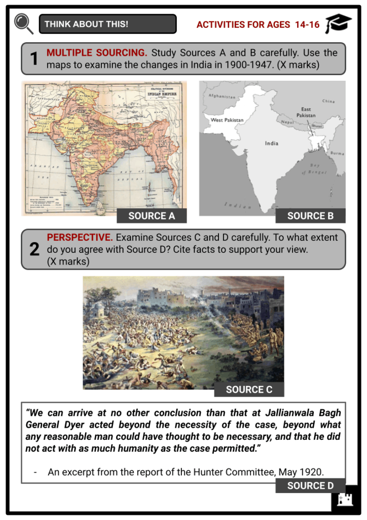 India 1900 to 1947 Activities & Answer Guide 3