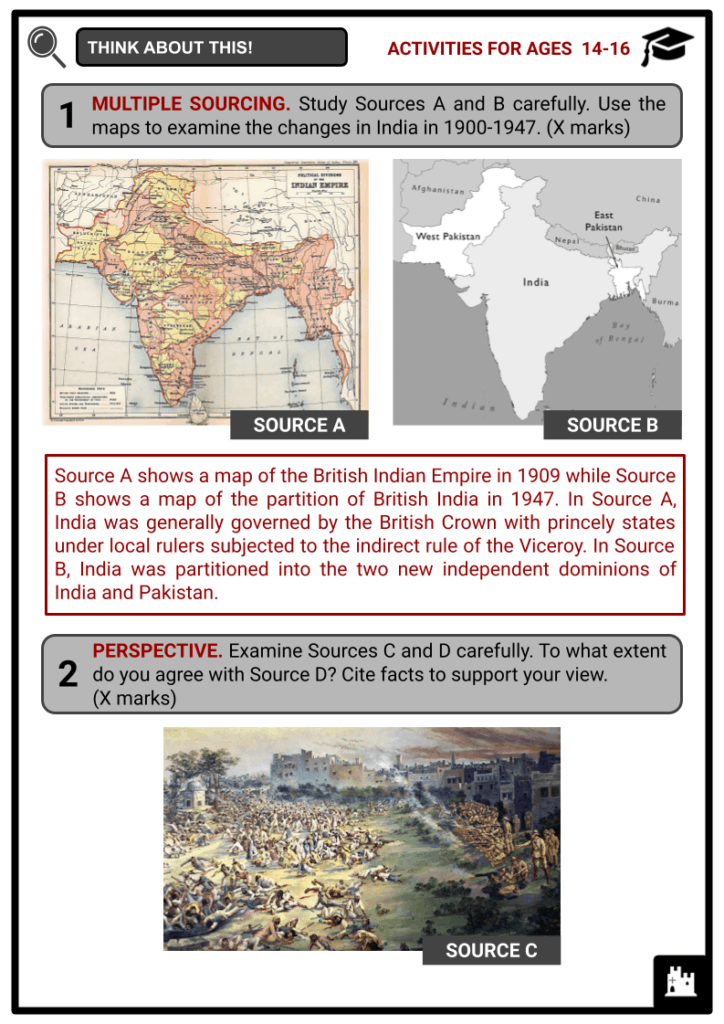India 1900 to 1947 Activities & Answer Guide 4