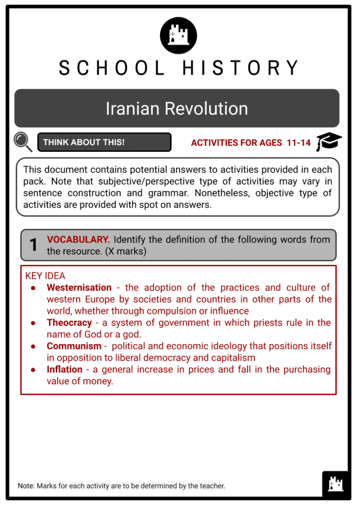 Iranian Revolution Activities & Answer Guide 2