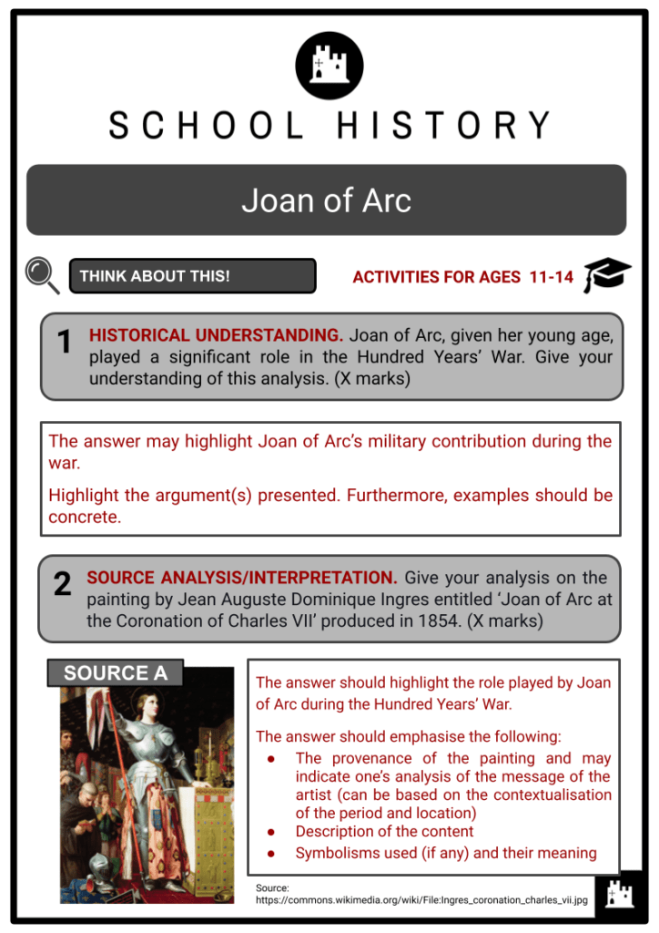 Joan of Arc Activities & Answer Guide 2