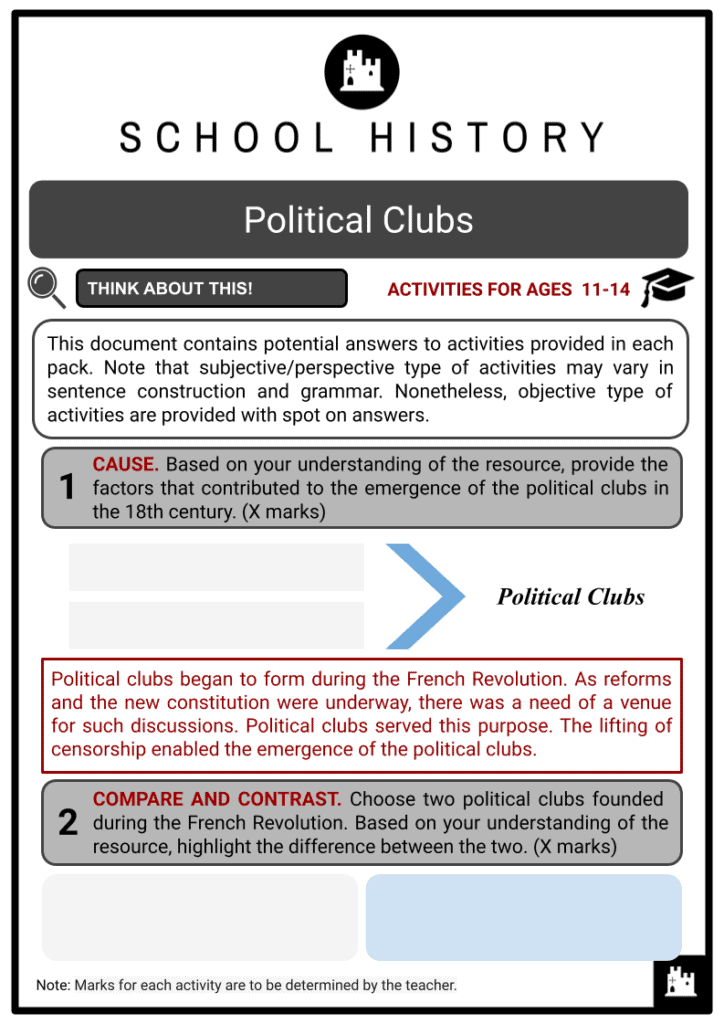 Political Clubs Activities & Answer Guide 2