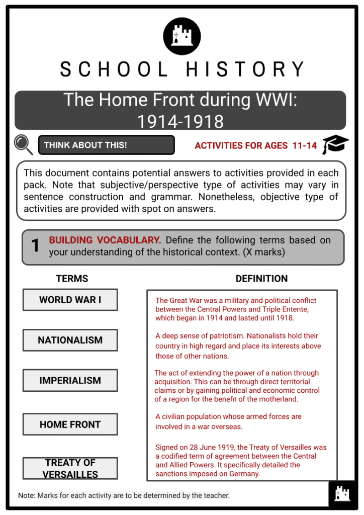 The Home Front during WWI 1914-1918 Student Activities & Answer Guide 2