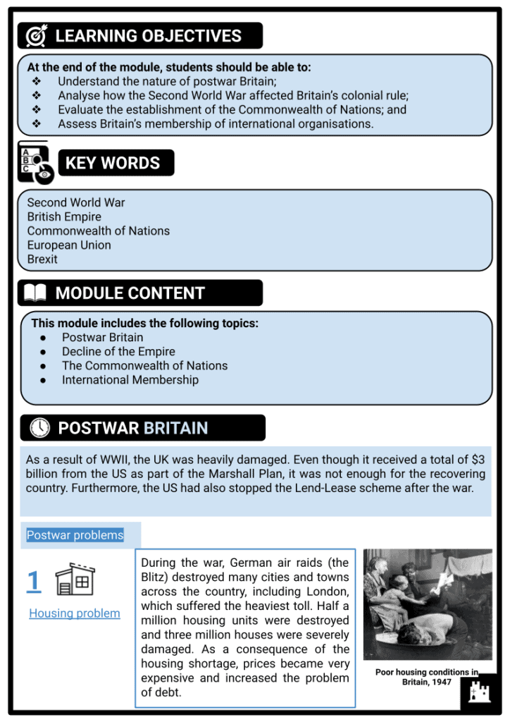 KS3 Britain's place in the world since 1945 Printout 1