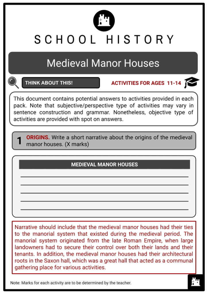 Medieval Manor Houses Activities & Answer Guide 2
