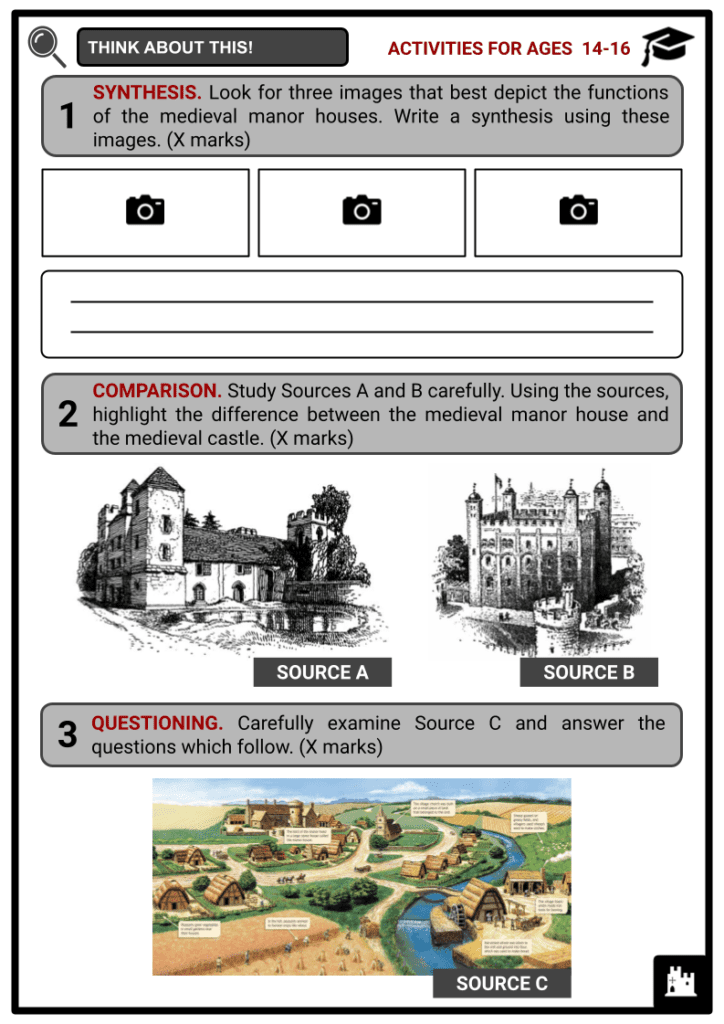Medieval Manor Houses Activities & Answer Guide 3