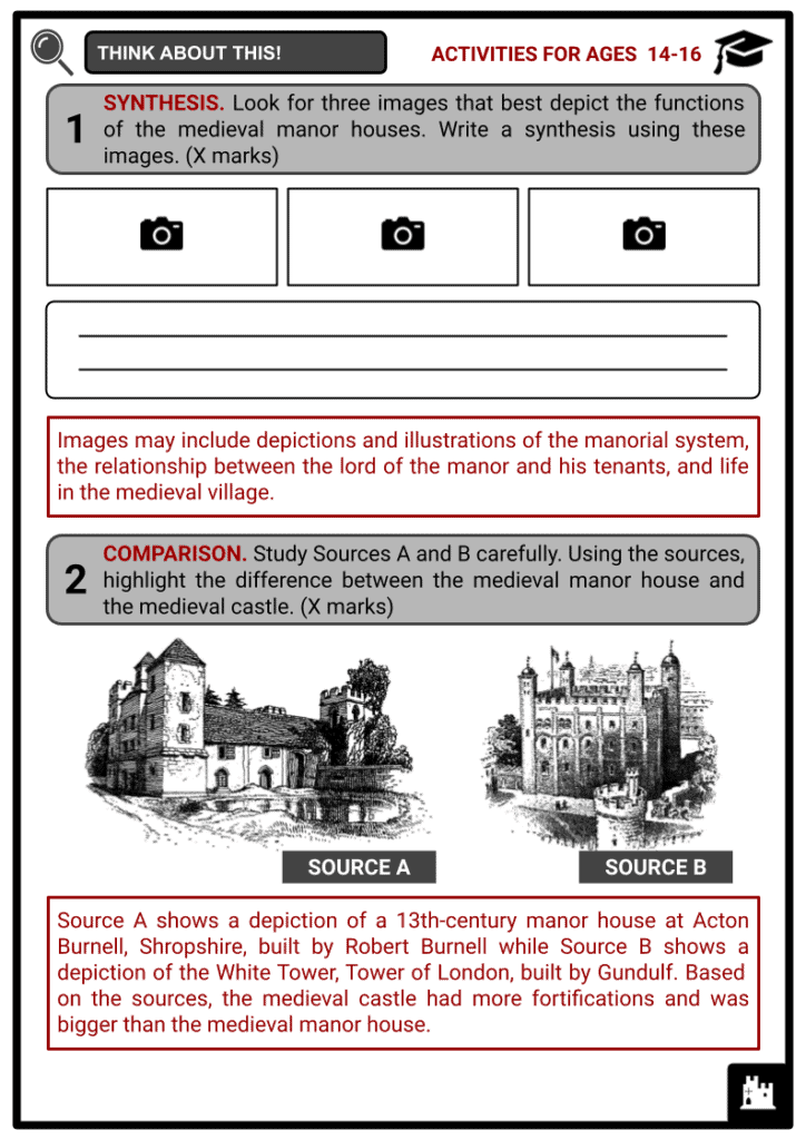 Medieval Manor Houses Activities & Answer Guide 4