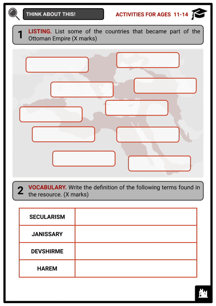 Ottoman Empire Activities & Answer Guide 1