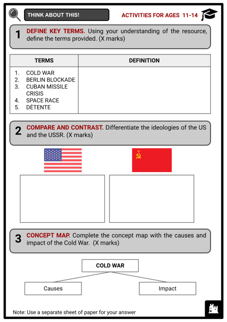 Timeline of the Cold War Activities & Answer Guide 1