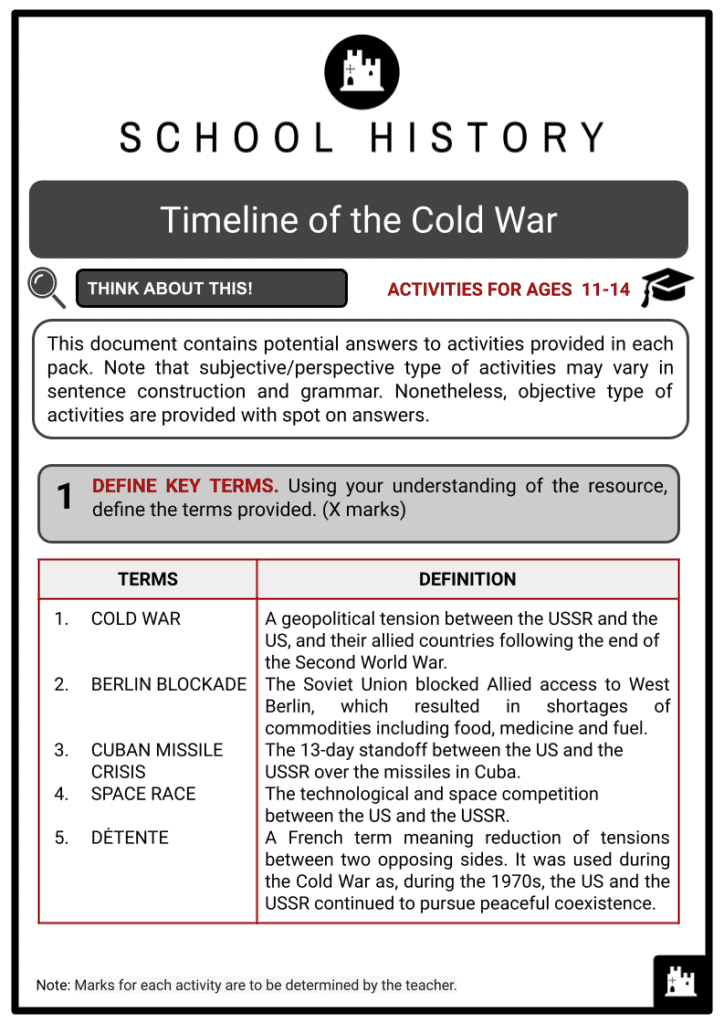 Timeline of the Cold War Activities & Answer Guide 2