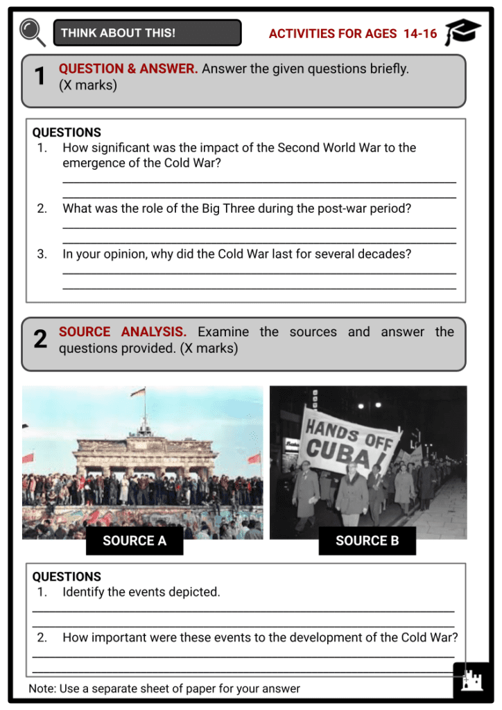 Timeline of the Cold War Activities & Answer Guide 3