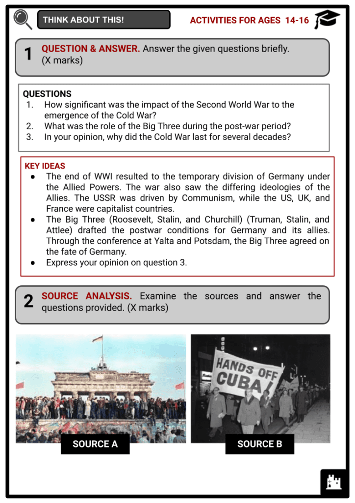 Timeline of the Cold War Activities & Answer Guide 4
